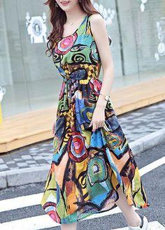Multicolor Abstract Graffiti Print Sleeveless Maxi Dress