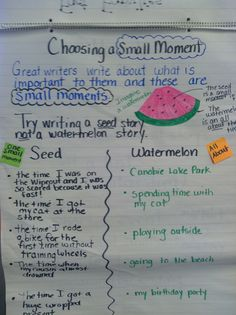 small moments watermelon vs. seed chart