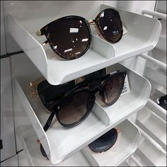 Half of the inventory and merchandising load is born by this Sunglass Stacking Tray Display Concept. A minimal front lip acts as Productstop to retain the Retail Fixtures, Store Fixtures, Retail Merchandising, Wood Tray, Space Saving, Trays, Eyewear, Target, Shelves