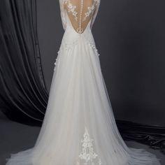 Style #50150051 back of long sleeve lace wedding dress