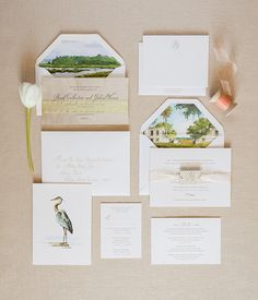 Wedding collage with watercolor prints on show