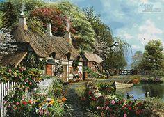 Riverside Home in Bloom Large - cross stitch pattern designed by Tereena Clarke…