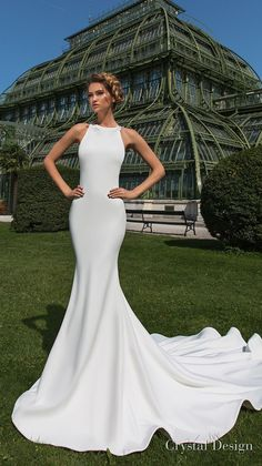crystal design 2018 sleeveless halter neck simple clean elegant fit and  flare wedding dress sheer lace d7a72555d74b
