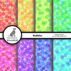 Bubbles Abstract Digital Paper Pack  for scrapbooking and paper crafts, by Pininkie