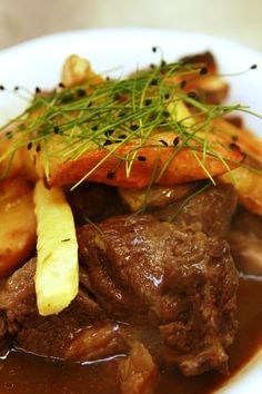 Bowl food Braised beef with roast root vegetables. Comfort Food - British Cuisine - Party Food - Wedding Food - Event food