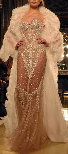 zuhair murad wedding dress with fur coat on a winter ceremony with lots of sparkle