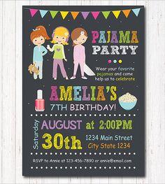 Pajama Party Invitation Sleepover Invitation Slumber Party