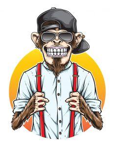Monkey Wallpaper, Skull Wallpaper, Gas Mask Art, Masks Art, Monkey Illustration, Hipster Illustration, Character Art, Character Design, Hipster Art