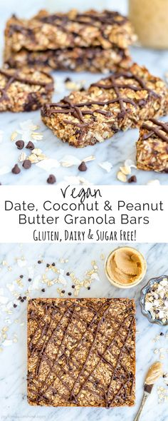 These Homemade Date, Coconut & Peanut Butter Granola Bars are a healthy homemade snack for busy moms! No sugar or oil plus they are gluten-free, dairy-free, vegan and full of protein and fiber!