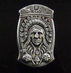 Antique Sterling Gorham Indian Chief Match Safe B2507 | eBay