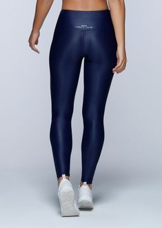 Metallic Core F/L Tight - These navy metallic full length gym tights is quick drying and moisture wicking. #activewear #lornajane #fashion #tights #leggings