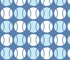 Blue Tennis Balls fabric and wallpaper by audreyclayton on Spoonflower - custom fabric
