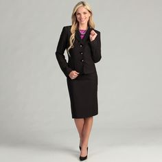 @Overstock - Classic yet simple, this womans three button skirt suit will bring a touch of style to your work wardrobe. This outfit comes in a sleek black color. The suit features a long sleeve jacket with notched collar and a skirt with a thick banded waist.http://www.overstock.com/Clothing-Shoes/Evan-Picone-Womens-3-button-Skirt-Suit/6655164/product.html?CID=214117 $80.74