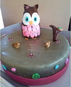 Owl Theme Birthday Cake www.cakesbydey.com Check us out on Facebook!