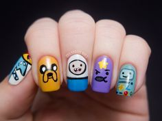 Adventure Time Nail Art. #chalkboardnails