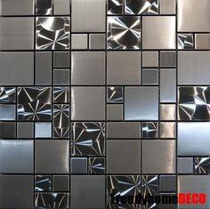 Details about SAMPLE- Unique Stainless Steel Pattern Mosaic Tile Kitchen Backsplash Bath wall Beadboard Backsplash, Herringbone Backsplash, Mosaic Backsplash, Mosaic Tiles, Backsplash Ideas, Tiling, Wall Tiles, Travertine Backsplash, Mirror Backsplash