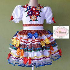 Vestido flores e babados 10 no Elo7 | Isa Artesanatos mimos para bebês (B60FC3)