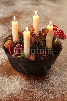 advent wreath in bundt cake pan.
