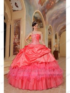 Coral Red Ball Gown One Shoulder Floor-length Taffeta Quinceanera Dress