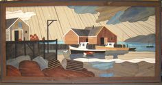 """This extremely rare wooden lath art picture called """"Rustic Harbour"""" was custom made by the famous Dutch artist Theodore Degroot in September 1989.    The rarity of this piece is attributed to the overall size being 73 inches in width, 37 inches in height and 2 3/8 inches in depth which is the largest size the artist ever made"""
