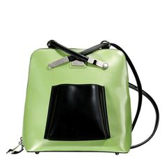 Follow Me (Apple Green)    Dimensions: 10″ L x 4″ W x 10″ H - Strap Length: 7″ – 13″ - Opening: 8″ - Trim Colors: Black - SRP: $120.00 - Available In: Apple Green, Lipstick Red, Platinum, Chocolate, Fuchsia, Teal