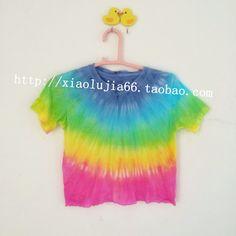 纯手工扎染彩虹T恤 渐变 冰激凌色 软妹zipper 学生T恤
