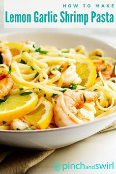 Easy and healthy Lemon Garlic Shrimp Pasta with succulent shrimp and a creamy sauce of butter, olive oil, and plenty of fresh lemon juice and zest! Made in just 20 minutes! One of those pasta recipes that you'll turn to over and over! Easy Summer Meals, Healthy Summer Recipes, Easy Dinner Recipes, Healthy Meals, Dinner Ideas, Vegetarian Recipes, Pasta Meals, Pasta Dishes, Pasta Recipes