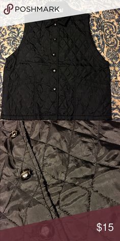 🔸🔸 BLACK SUPER CUTE VEST 🔸🔸 🌟🌟 STYLISH, FUN Vest- buttons down front with two front pockets 🌟🌟 Kathy Ireland Jackets & Coats Vests