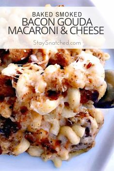 Grown-Up Baked Smoked Bacon Gouda Macaroni and Cheese is a delicious spin on traditional mac and cheese. Ordinary mac and chee… Gourmet Mac And Cheese, Gouda Mac N Cheese Recipe, Macaroni And Cheese Bacon, Smoked Mac And Cheese, Macaroni Recipes, Mac Cheese Recipes, Smoked Bacon, Bacon Recipes, Healthy Recipes