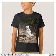 Cheeky White Meerkat, Kids Black T-Shirt