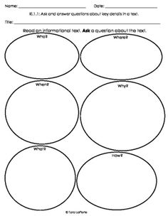 This graphic organizer assists students in asking questions about an informational piece of text. It is aligned with Common Core Standard Ri1.1.