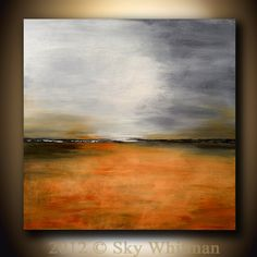 Large Modern Contemporary Art Gray and Burnt Amber Abstract Landscape Giclee Painting 40x40 Sky Whitman