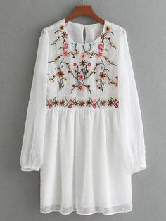 Vintage Autumn Women Floral Embroidery Dress O Neck Long Sleeve Dotted Mesh Dress Elegant Party Mini Dresses Brand vestido Elegant Dresses, Casual Dresses, Mini Dresses, Summer Dresses, Floral Embroidery Dress, White Embroidery, Embroidery Shop, Sheer Mini Dress, Dress Long