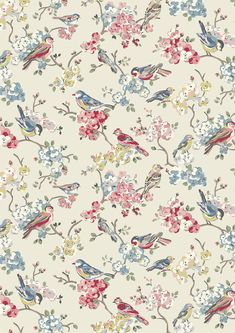 Blossom Birds | We've returned to one of our favourite animal motifs - birds - and combined them with more beautiful cherry blossoms to create this delicate, softly coloured new print with a romantic, painterly feel | Cath Kidston SS16 |