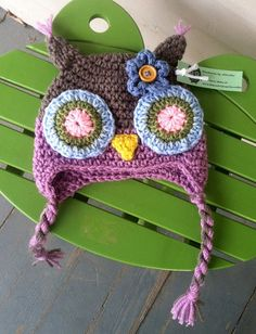 Owl Hat Size 3-6 months by JHCrafter on Etsy