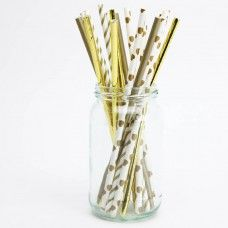 Gold Party Paper Straws