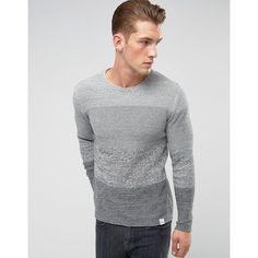Only & Sons Knitted Jumper With Mixed Stripe Detail (538.080 IDR) ❤ liked on Polyvore featuring men's fashion, men's clothing, men's sweaters, grey, mens crewneck sweaters, mens gray sweater, men's grey crew neck sweater, mens grey sweater and mens crew neck sweaters