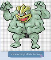 Machamp Pokemon perler pattern by Hama-Girl Cross Stitch Designs, Cross Stitch Patterns, Pokemon Cross Stitch, Pixel Art Grid, Pokemon Perler Beads, Pokemon Craft, Pixel Art Templates, Anime Pixel Art, Animals