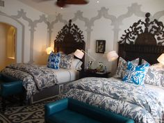 otomi bedspreads + pillows, shyrdak rugs in a client's mexican home