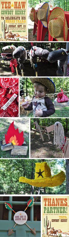 Cowboy Birthday Party   Love the bandana dowell rod treat sacks