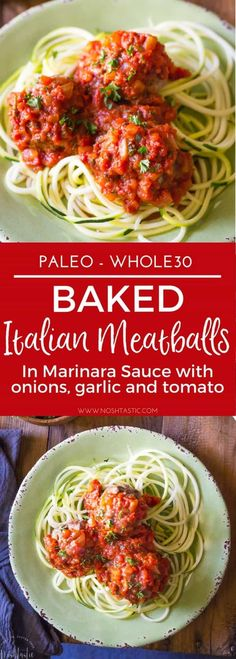 Paleo Italian Meatballs contain no breadcrumbs or grains of any kind. These beef and pork meatballs are baked in the oven and the Marinara sauce is made on the stove, from scratch, with tomatoes, onions, garlic and herbs