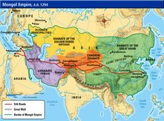 The Mongol Empire in 1294. 67 years after Genghis Khan's death, the Mogol empire is now divided into four separate khanates, ruled by his grandsons.