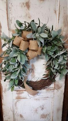 Lambs Ear Greenery Wreath - Wreath Great for All Year Round - Everyday Burlap Wreath, Door Wreath, Wedding Wreath by FarmHouseFloraLs on Etsy (holiday door wreaths xmas) Wreath Hanger, Diy Wreath, Grapevine Wreath, Wreath Burlap, Wreath Ideas, Making Burlap Wreaths, Fall Ribbon Wreath, White Wreath, Tulle Wreath
