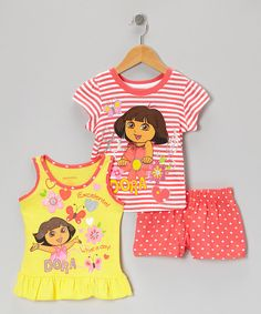 Take a look at this Dora the Explorer Coral & Yellow Stripe 'Dora' Shorts Set - Toddler & Girls on zulily today!