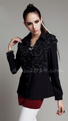 Woman's Lapel Stylish Long Sleeves Pluse Size Shirt