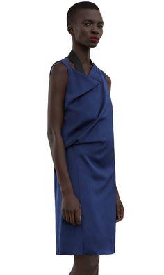 Rebecca draped satin dress falls below the knee  #AcneStudios #SS16