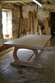 Large oak refectory table handmade in France for a client in Dorset. Finished with a white Osmo tint for a limed effect https://www.makersbespokefurniture.com/bespoke-furniture-from-makers/bespoke-dining-tables/ #limed #kitchen #table