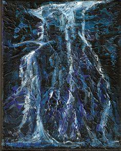 Lightning Painting Night Storm Painting  Acrylic by TheAtticTheory, $70.00