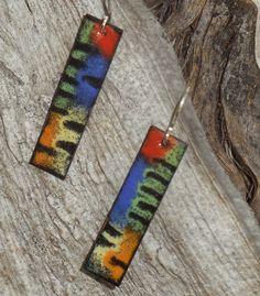 Handcrafted Sgraffito Enamel Earrings in Trendy Urban Graffiti Design. $36.00, via Etsy.