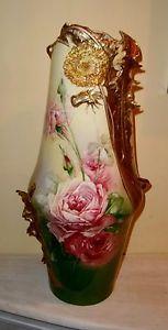 VASE Carlsbad Austria ROSES Antique TALL gold floral porcelain art nouveau K C
